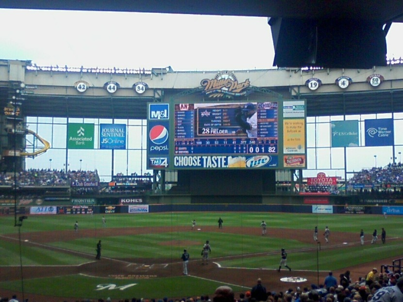 Milwaukee Brewers's Miller Park- Roof was open but it was still cloudy